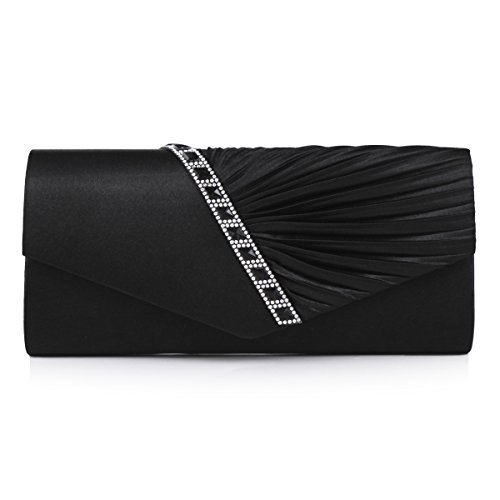 Damara Womens Pleated Crystal-Studded Satin Handbag