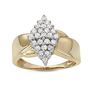 1/2CTTW Diamond Marquise-shaped Cluster Warerfall Ring in Sterling Silver with 14K Yellow Gold Plating
