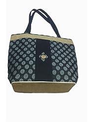 Cross Check Pattern Jute Shoulder Bag (Blue)