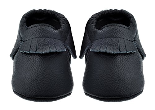 Sayoyo Baby Black Tassels Soft Sole Leather Infant Toddler Prewalker Shoes (12-18 months, Black)