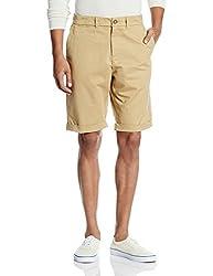 People Men's Cotton Shorts (8907496080443_PMWSH28CR216621_32_Khaki)