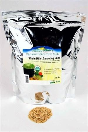 Organic Whole (Hull Intact) Millet Seeds - 2.5 Lbs - Cereal Grain - Sprouting Seed - Animal Feed & Bird Seed