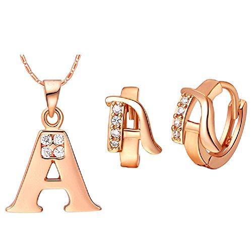 Bling fashion 18K oro rosa placcato 26lettere lettera a collana e orecchini