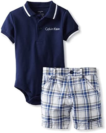 Calvin Klein Baby-Boys Infant Polo Bodysuit with Plaid Shorts, Blue, 12 Months