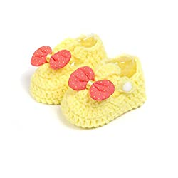 Baby Oodles Yellow Crochet Art Baby Booties With Bow