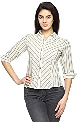Texco Garments Women's Cotton Shirt (S4, White and Grey, Large)