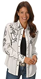 Scully Women\'s - Floral Embroidered Retro Western Shirt White Large