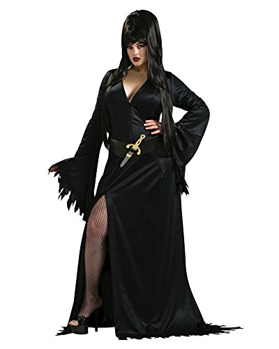 [Sexy Elvira Costume Plus Size Theatre Costumes Goth Gothic Black Dress Sizes: One Size] (Elvira Plus Size Costumes)