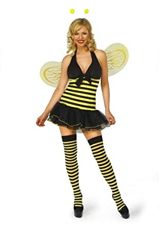 Sofias Closet Womens Bumble Bee Fancy Dress Costume Full Outfit Cute Nature Honey Striped