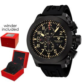 Swiss Legend Men's 1101BB01LYAW Militare No1 Collection Automatic Chronograph Black Rubber Watch With Winder