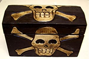 Hand Carved Wooden Skull Trinket / Treasure Box