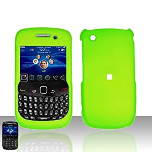 Blackberry Curve 8520 (T-Mobile) - Rubberized Snap-on Protector Case - Neon Green (free ESD Shield Bag)