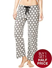 Pure Cotton Spotted & Striped Pyjama Bottoms