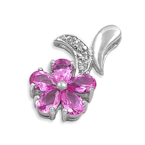 Sterling Silver Pendant with Pink and Clear CZ Stones