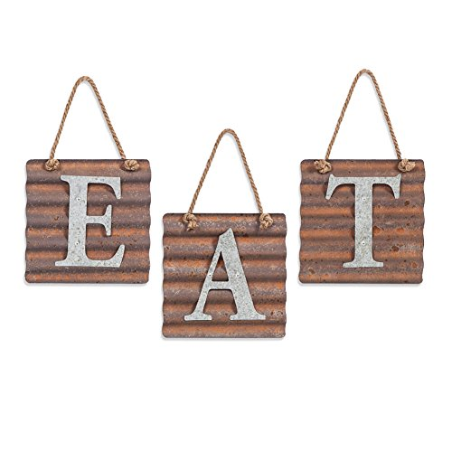 Xing Cheng Wall Metal Plaque Sign Eat Letter Sign Wavy Metal Plate for Kitchen (Eat Letters For Kitchen compare prices)
