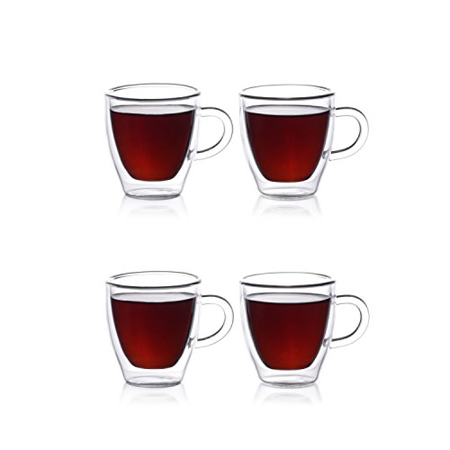 Eparé 2 oz Strong Double Wall Insulated Borosilicate Thermo Glass Espresso Cups (Set of 4) (Handle) (Glass Espresso Measuring Cup compare prices)