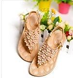 (フルールドリス)Fluer de lis フラワートングサンダルベージュピンク ぺたんこ サンダル ウェッジソール 靴 シューズ 婦人靴 アパレル レディース ファッション 服 200-k1-6639