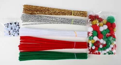 Jumbo Christmas Craft Kits Contain Pipe Cleaners, Wiggle Eyes, Pom Poms - Great for Groups, Church or Scout Projects (3 Kits Total)