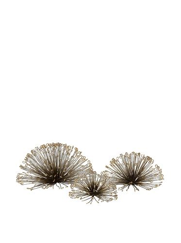 Imax 84459-3 Laserette Wire Flower Wall Decor, Set Of 3