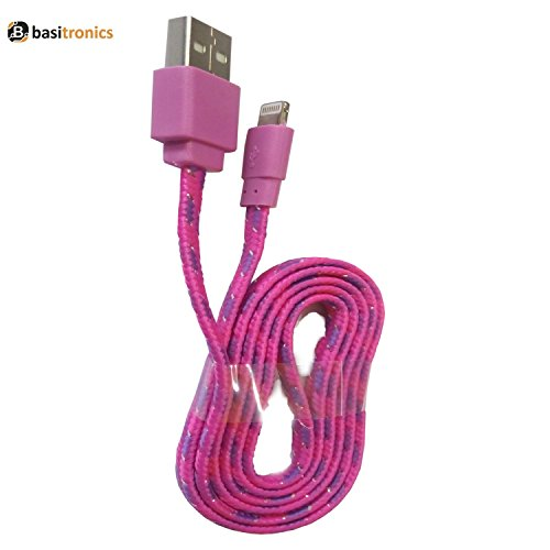 Basitronics Apple Lightning To USB Flat Fiber Charging And Data Cable For Iphone,3 Feet (0.9 Meters) Dark Pink