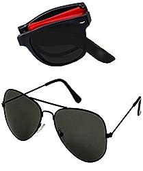 Shara UV Protected Foldable wayfarer and Aviator unisex sunglasses set of 2 combo pack ( Black lens)(SHA/SUNGLASSES/FOLDREDABK)