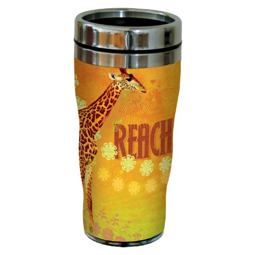 Tree-Free Greetings 77495 Fun Reach Giraffe Art By Duirwaigh Gallery Sip 'N Go Travel Tumbler, 16-Ounce, Multicolored