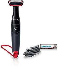 Philips BG105/10 - Afeitadora corporal, color negro y rojo