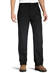 Carhartt Men\'s Double Front Work Dungaree Washed Duck,Black,34 x 32