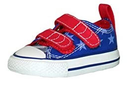 Converse Unisex Baby Chuck Taylor All Star V2 Ox (Inf/Tod) - Blue/White/Red - 2 Infant