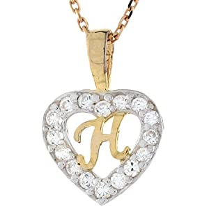 H Letter In Heart 9ct Gold Letter  h  CZ Initial