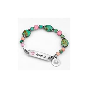 Womens Asthma Alert Beach Escape Links of Hope Beaded Bracelet with Medical ID Tag - 7 1/2 inch from StickyJ
