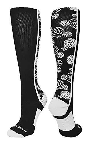 Crazy Volleyball Logo Over the Calf Socks (Black/White, Medium) Over Logo Sock