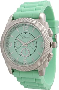Large Unisex Geneva Chronograph Style Silicone Watch - Mint/Silver