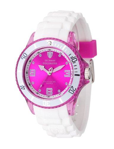 Detomaso Unisex-Armbanduhr COLORATO Pink Transparent Trend Analog Quarz Silikon DT2051-C
