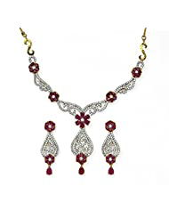 Jewelfin Floral Design Rosy Pink Necklace Set For Women