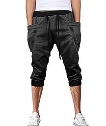 HEMOON Mens Jogging Pants Tracksuit Bottoms Training Trousers 3/4 Length Dark Grey #2 M