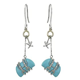 Reconstructed Turquoise With Diamond Earrings