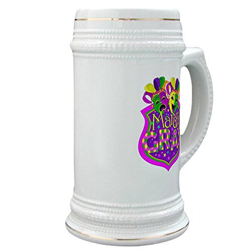 [Stein (Glass Drink Mug Cup) Mardi Gras Comedy Tragedy Masks] (Oktoberfest Beads With Mug)