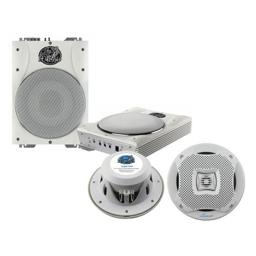 Lanzar Marine Amp Woofer And Speaker Package - Aqtb8 8'' 1000 Watts Low-Profile Super Slim Active Amplified Marine/Waterproof Subwoofer System - Aq6Cxw 400 Watts 6.5'' 2-Way Marine Speakers (White Color) (Pair)