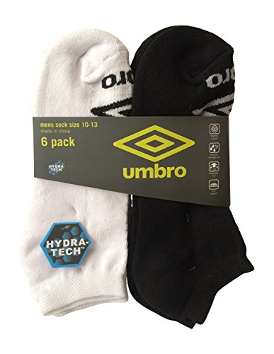 Umbro Men's Sports Trainer Soccer Socks 6 Pack (3 Pairs Black, 3 Pairs White) umbro umbro vision league 3