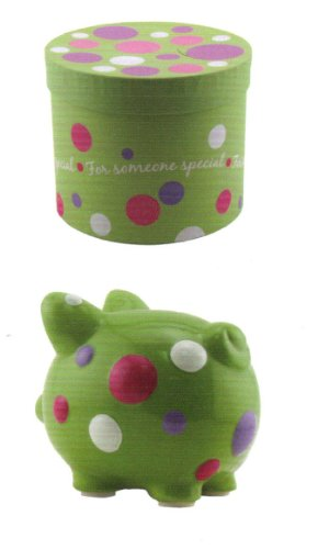 Ceramic Piggy Bank Someone Special Polka Dots - 1
