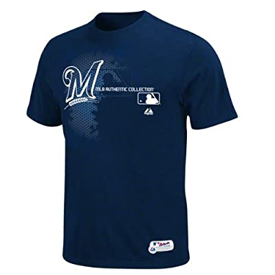 MLB Majestic Milwaukee Brewers 2013 On-Field Authentic Collection Change Up T-Shirt - Navy Blue