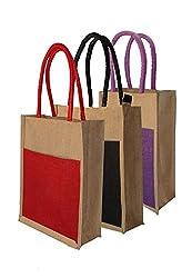 Foonty tote women Pack of 3 jute lunchbag (FJUWB6286)