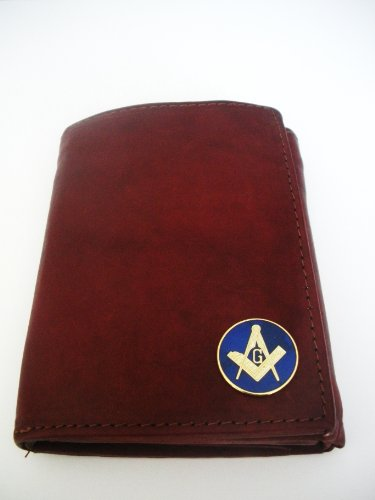 Mason-Masonic Men'S Brown Tri-Fold Italian Leather Wallet