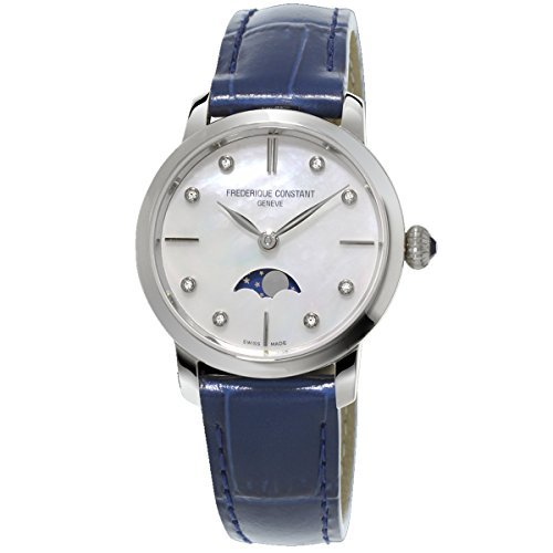 Frederique Constant Slimline Moonphase FC-206MPWD1S6 30mm Diamonds Stainless Steel Case Blue Leather Synthetic Sapphire Women's Watch