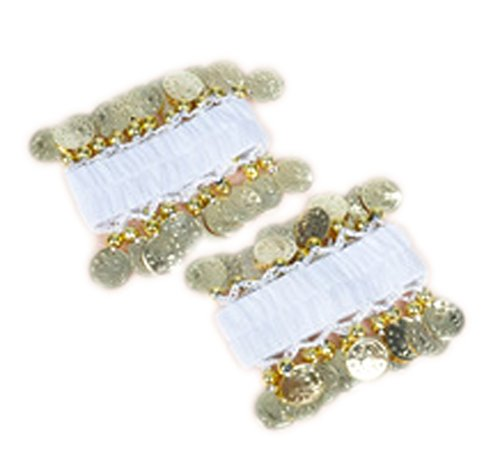 AvaCostume Belly Dance Chiffon Gold Coin Wrist Ankle Arm Cuffs Bracelets