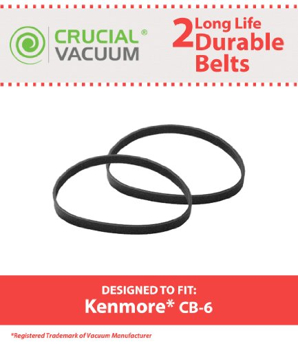 Crucial Vacuum 2 Kenmore CB-6 Belts Fits Kenmore Powerhead Canister Vacuums, Compare to Part # 20-5201