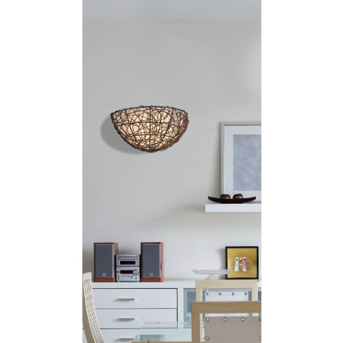 Kenroy Home 93300RAT Thicket 1-Light Wall Sconce, Rattan