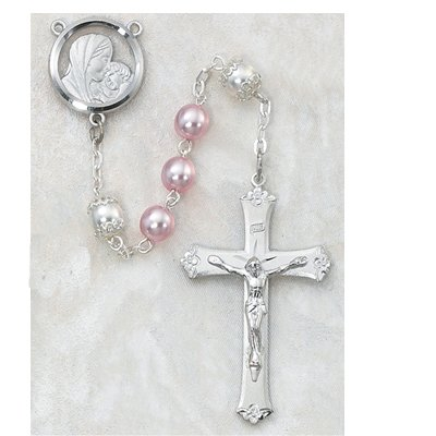 6MM BEAD PINK & PEARL ROSARY