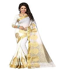 Dealseven Fashion New White Colure Cotton Woman Silk Saree